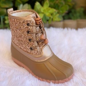 NEW** GIRLS ROSE GOLD GLITTER LACE UP DUCK BOOTS